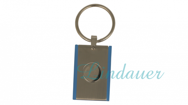 Schlüsselanhänger chrom matt/ blau