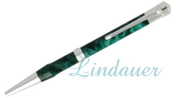 Kugelschreiber, grün-silber marmoriert.