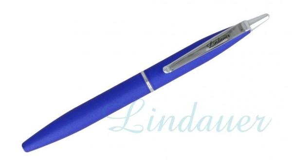 Mini-Kugelschreiber blau-gummiert