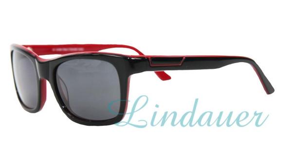 Sonnenbrille, schwarz/rot