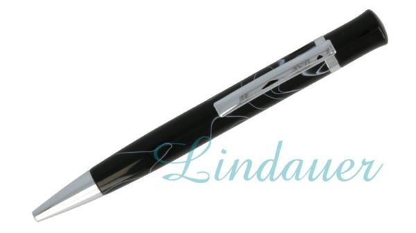 Lindauer Kugelschreiber schwarz mit weißen Linien