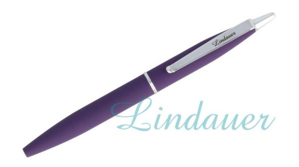 Mini-Kugelschreiber violet-gummiert