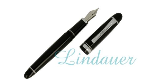 Füllfederhalter, Klassik-Design; schwarz, silber
