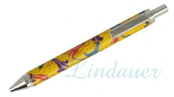 Lindauer Kugelschreiber gelb mit floralem Muster