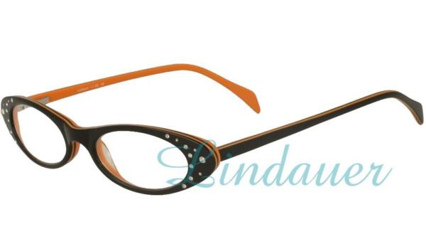 Lesehilfe schwarz/orange,   weisse Strasssteine