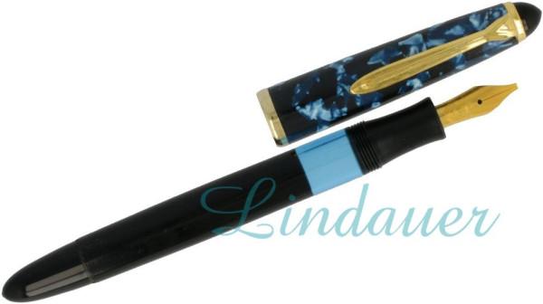Kolbenfüllfederhalter blau-schwarz-marmoriert