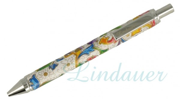 Lindauer Kugelschreiber weiß, florales Muster