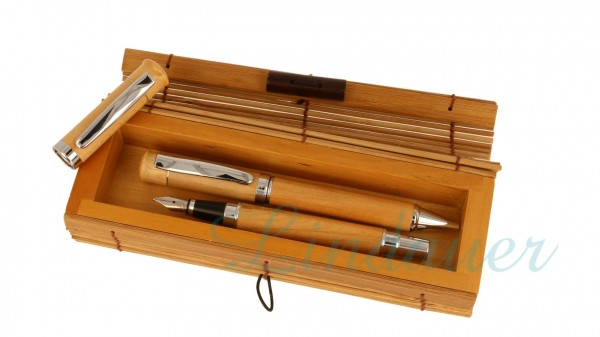 Ahorn Füllfederhalter & Kugelschreiber Bambusetui