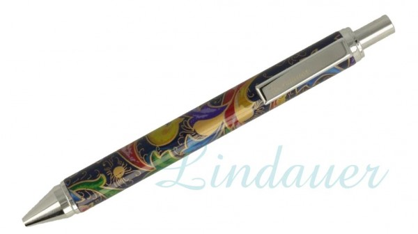 Lindauer Kugelschreiber blau mit floralem Muster