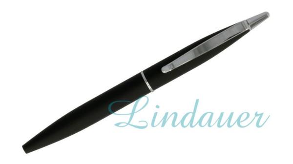 Mini-Kugelschreiber schwarz-gummiert