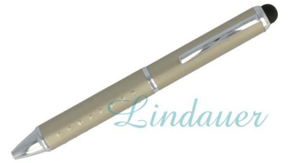 Mini-Kugelschreiber mit Noppen, chrom-beige