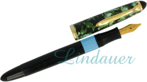Kolbenfüllfederhalter grün-schwarz-marmoriert