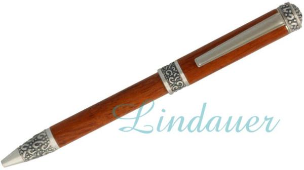 Kugelschreiber aus Rosenholz/antik silber