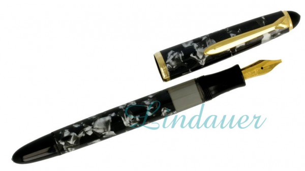 Kolbenfüllfederhalter grau-schwarz-marmoriert
