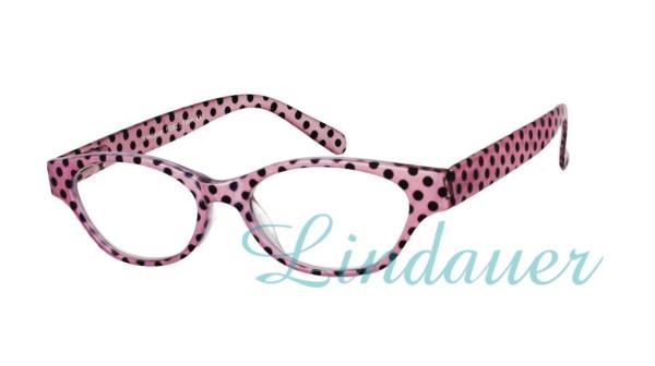 Lesehilfe in pink mit schwarzen Punkten