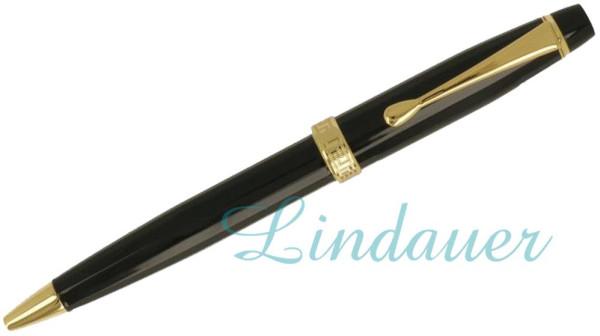 Kugelschreiber schwarz mit Gold-Zierring
