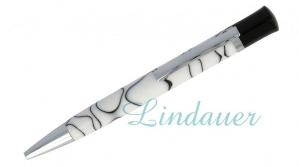 Lindauer Kugelschreiber weiß mit schwarzen Linien