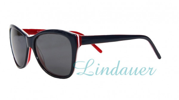 Sonnenbrille, dunkelblau/weiß/rot