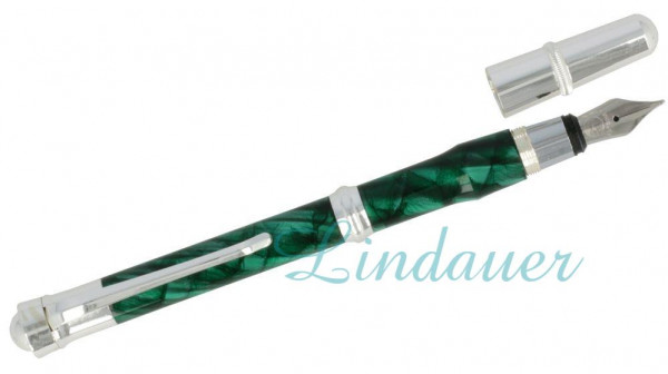 Füllfederhalter, grün-silber marmoriert,