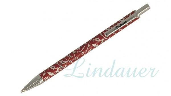 Lindauer Mini-Kugelschreiber rot in floralem Desi,