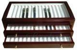 Holzvitrine aus Rosenholz für 45 Schreibgeräte