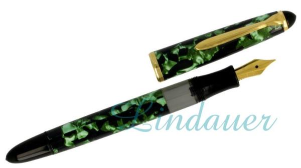 Kolbenfüllfederhalter, grün-marmoriert
