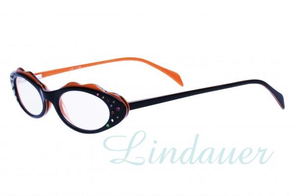 Lesehilfe schwarz/orange, bunte Strasssteine