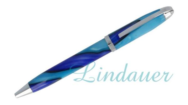Mini-Kugelschreiber in blau wellenförmig in sich